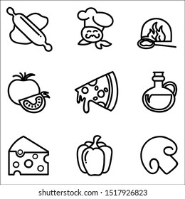 Set of vector black icons of products and tools for pizza making.