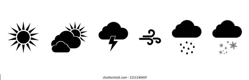 Set of vector black Weather icons. Weathers icons. Weather vector icons. Weather forecast sign symbols. Weathers signs. Eps10