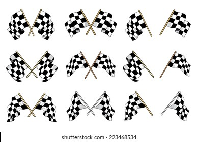 Set of vector black and white checkered flags used in motor sport with six different crossed designs and six single flags showing different waving motions of the textile