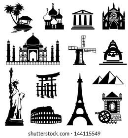 set vector black and white icons of landmarks