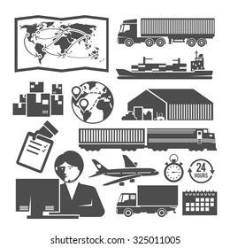 Set of vector black and white icons on the theme of logistics, freight, trucking, warehouses, storage of goods, insurance.