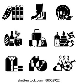 set vector black and white icons of goods and wares in supermarket