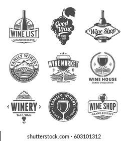 Set of vector black and white wine logo