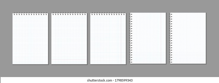 set of vector blank checkered sheets for notes. blank template mock ready for notes messages. collection of spiral plaid notepad on spring copy space for your text