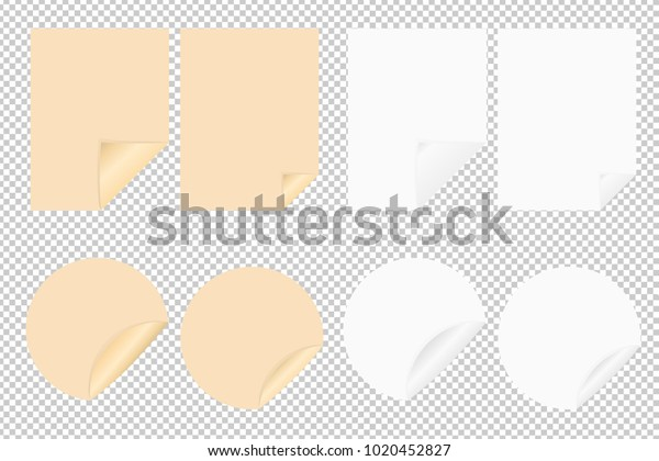 Set Vector Blank Leaf Paper Round Stock Vector Royalty Free