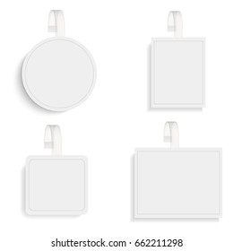 Set of vector blank round wobblers with transparent strip.