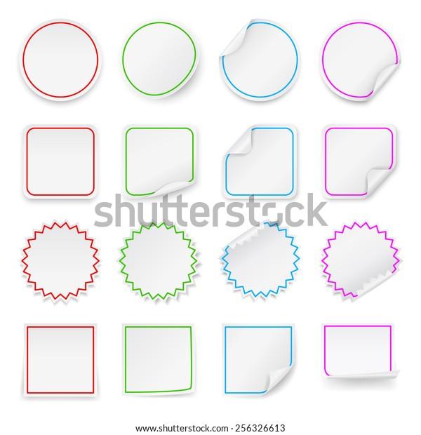Set Vector Blank Stickers Design Templates Stock Vector (Royalty