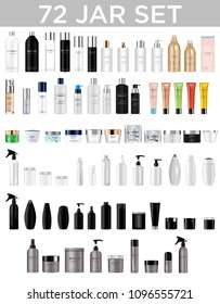 Set vector blank templates of empty and clean multicolor plastic and glass containers:  bottles with spray, dispenser and dropper, cream jar, tube.  Realistic 3d mockup of cosmetic package. Vector ill