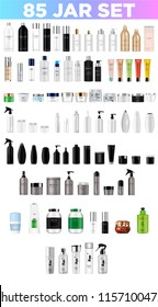 Set vector blank templates empty and clean multicolor plastic and glass containers:  bottles with spray, dispenser and dropper, cream jar, tube.  Realistic mockup of cosmetic package.