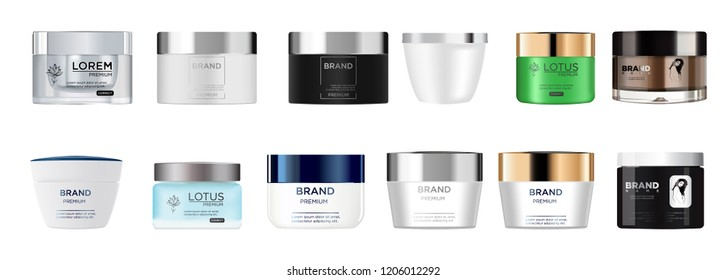 Set vector blank templates of empty and clean multicolor plastic and glass containers:  bottles, cream jar.  Realistic 3d mockup. EPS 10.