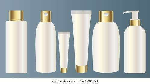 Set vector blank templates of empty and clean white plastic containers with gold: bottles with spray and dropper, cream jar, tube. Realistic 3d mock-up of cosmetic package.
