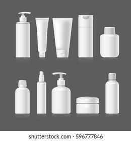 Set vector blank templates of empty and clean white plastic containers: bottles with spray, dispenser, cream jar, tube. Realistic mock-up of cosmetic package. Isolated on gray background.
