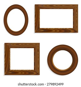 Set of vector blank wooden frames (round and square).