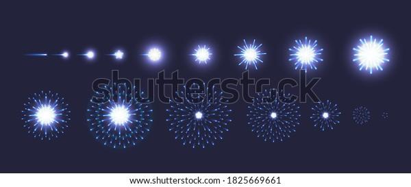 Set vector of blue fireworks explode effect on dark blue background. Collection of firecracker light for animation, game, anniversary, New year, festive celebration, carnival. Vector illustration.