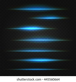 set of vector blue lens flares on transparent background