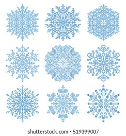 Set of vector blue snowflakes. Fine winter ornament. Snowflakes collection
