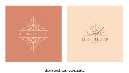 Set of vector bohemian logos.Boho linear icons or symbols in trendy minimal style.Modern celestial emblems.Letters with Tierra del Sol means The Land of Sun,Letters with Luna del Mar means Sea Moon