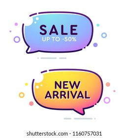 Set of vector bold dashed outline stroke banners. Rounded speech bubble shape. Nice and cute design template with colorful elements. Sale and New Arrival labels