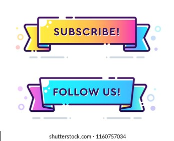 Set of vector bold dashed outline stroke banners. Flat ribbon shape. Nice and cute design template with colorful elements. Subscribe and Follow Us labels.
