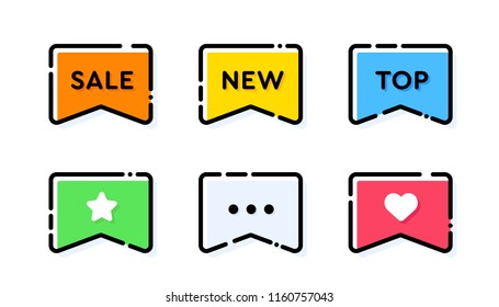 Set of vector bold dashed outline stroke tags or labels. Rectangular ribbon bookmark shape. Nice and cute design template with colorful elements. Peach orange and blue cyan colors.