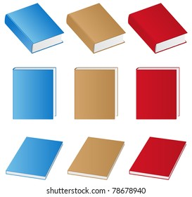 Set of vector books on white background