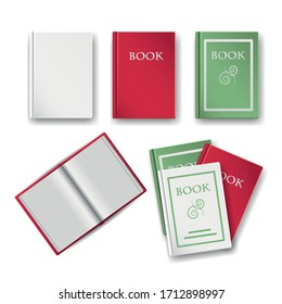 A set of vector books in red white and green isolated on a white background. Templates for empty book bindings, an open book, and a stack of books. Top view or flat layer.Use it as a clip art.