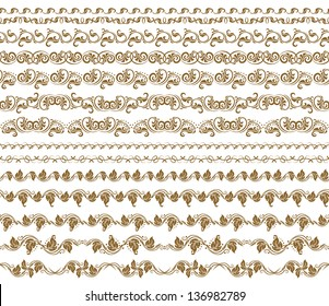 Set of vector borders,  decorative elements for design. Seamless ornament. Page decoration.