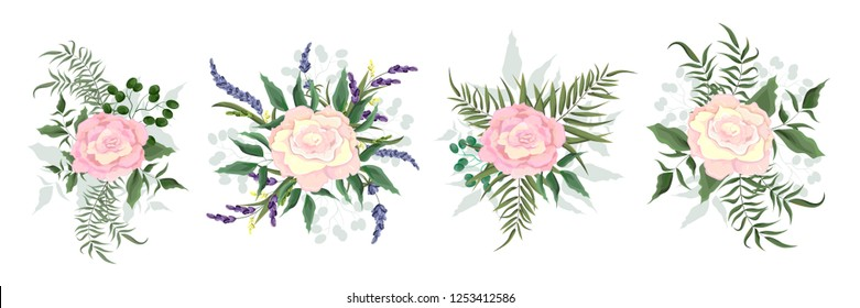 Set of vector bouquets of beige rose. Flowers on white background. All elements are isolated. Elements for wedding design.