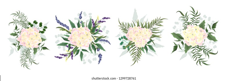 Set of vector bouquets of hydrangeas. Flowers on white background. All elements are isolated. Elements for wedding design.