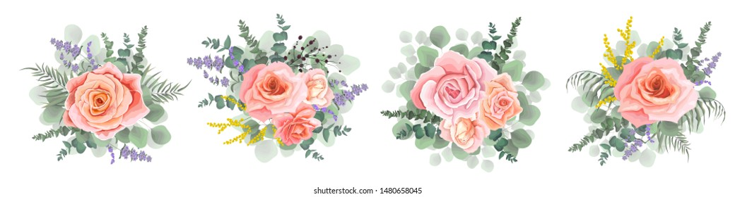 Set of vector bouquets. Lavender, pink roses, eucalyptus branches, green plants. Flowers on a white background.