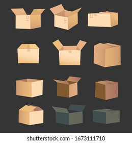 A set of vector boxes. The open boxes have layered structure, so you can put anything inside.