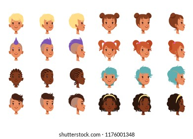 Set of vector boys head faces with different hairstyles. Punk mohawk, dreadlocks, classical and trendy hipster haircut. Front and side view