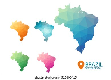 Set of vector Brazil maps. Bright gradient map of country in Low poly style. Multicolored country map in geometric style for your design infographic. Vector illustration eps 10.