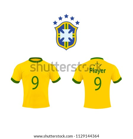 148cb46d147 Set vector Brazil national soccer team shirt in generic country for fantasy  apparel.