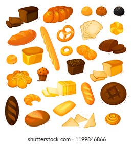 Set vector bread icons.Bakery product in cartoon style. Rye, whole grain and wheat bread, pretzel, muffin, pita , ciabatta, croissant, bagel, toast bread, french baguette and so.