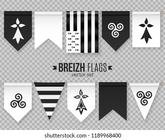 Set of vector breton decorative flags and symbols with hermine and triskel. Black and white pennants isolated on transparency grid background.