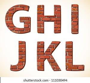 Set vector brick punctuation marks alphabet