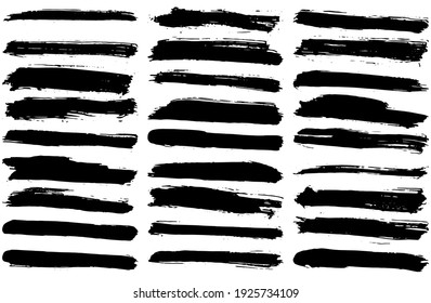 Set of vector brush strokes. Dirty ink texture splatters. Grunge rectangle text boxes