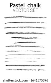 Set of vector brush strokes with an oil pencil. Vector set Wide trace of oil crayon. Black and white trace illustration of an oil pencil smear isolated on a white background