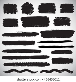 Set of vector brush strokes, various shapes. Line, wave, stripe, rectangle, text background with rough edges. Collection of different hand drawn graphic elements.