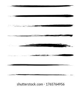 Set of vector brushes horizontal lines. Hand drawn grunge brush strokes.