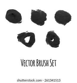 Set of vector brushes and traced elements of gouache