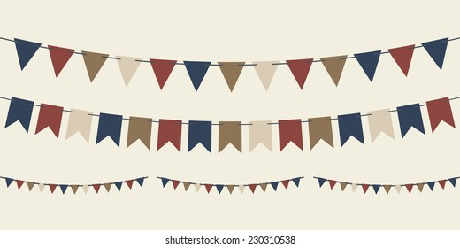 Set of vector bunting carnival flags for your designs (birthday party, wedding celebration, Christmas)