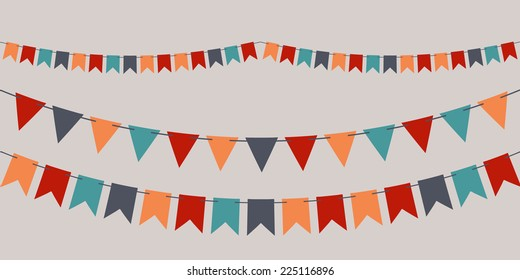 Set of vector bunting party flags for your designs (birthday party, wedding celebration)