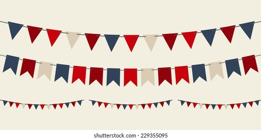 Set of vector bunting party flags for your designs (birthday party, christmas)