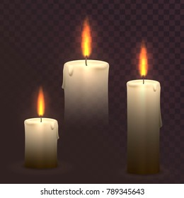 Set of vector burning candles