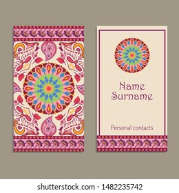 Set of vector business card templates with ethnic indian kalamkari ornament. Floral paisley decorative pattern. Ornamental folk design in oriental style