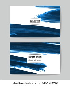 Set of vector business card templates with brush stroke background.
