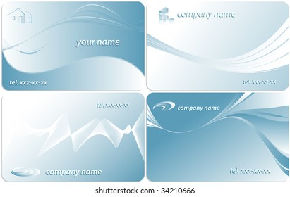 set of vector business cards with wavy lines