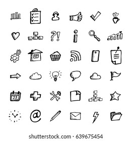 Set of Vector Business Icons in Doodle Style. Hand Drawn Finance Symbols. Sketched Infographic Elements